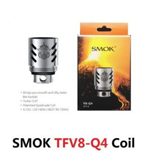 3PCS L ORIGINAL SMOK TFV8 Q4 Coil 300x300 - Smok V8-Q4 head for TFV8 - 0.15ohm - 3pcs