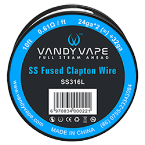 10ft Vandyvape SS316 Fused Clapton Wire 24ga*2+32ga