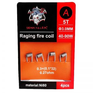RAGING0.27ORANGE 300x300 - DEMON KILLER - RAGING FIRE NI80 COIL EDITION - 4PCS 0.3+(0.1*32)  0,27ohm